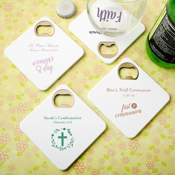 Personalized Religious Event Bottle Opener Coaster Duo Favor image