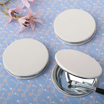 Perfectly Plain White Leatherette Hinged Compact Mirror image