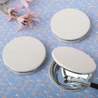 Perfectly Plain White Leatherette Hinged Compact Mirror