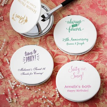 Personalized Birthday Design White Leatherette Compact Mirro image