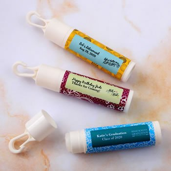 Personalized Special Event Lip Balm Favors with Clip image