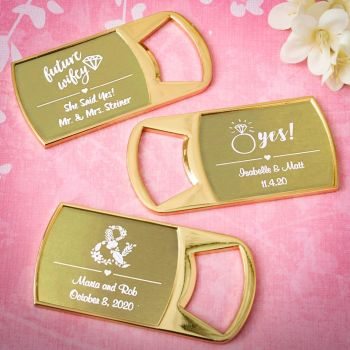 Personalized Metallic Wedding Gold Metal Bottle Opener image