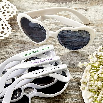 Personalized Expression Heart Shaped white Sunglasses image