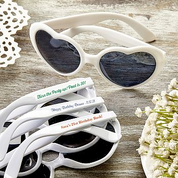 Personalized Expressions Hearts Shaped white Sunglasses image