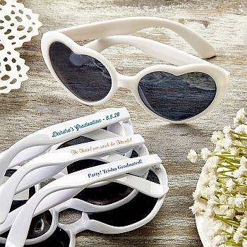 Personalized Expressions Hearts Shape white Sunglasses image