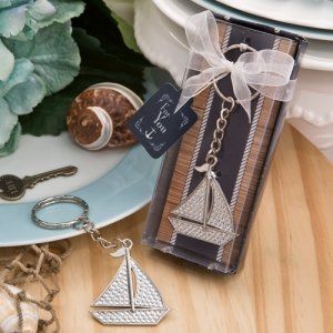 Silver Sailboat Key Chain Nautical Wedding Favors image