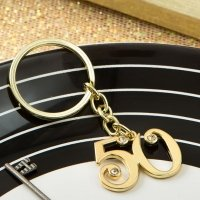 50th Design Gold Metal Key Chain Favors