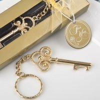 Key To My Heart Collection Gold Metal Key Chain Favors