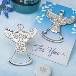 Guardian Angel Design Silver Metal Bottle Opener Favors image