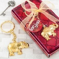 Gold Metal Good Luck Elephant Key Chain Favors