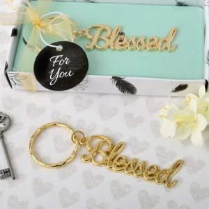 Blessed Theme Gold Metal Key Chain Favors image
