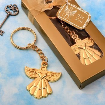 Angel Themed Gold Key Chain Favors image
