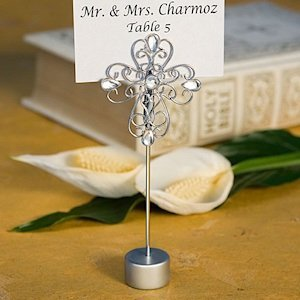 Decorative Cross Religious Place Card Holders image