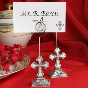 Elegant Cross Place Card Holders with Enamel Inlay image