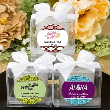 Personalized Tropical Design Candle Favors image