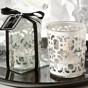 White Accented Candle Holder image