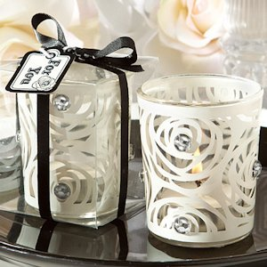 White Rose Candle Holder Favors image