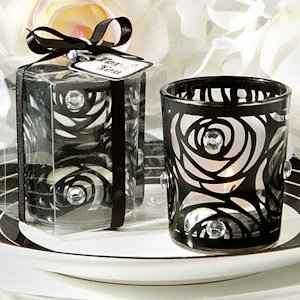 Black Rose Candle Holder Favors image