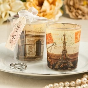 Parisian Themed Glass Votive Candle Holders image
