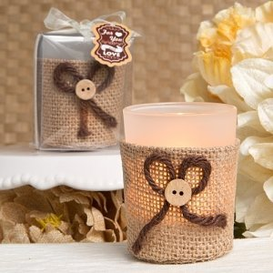 Rustic Burlap Votive Candle Holders image