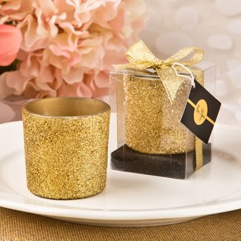 Bling Collection Gold Glitter Candle Votive Favor image