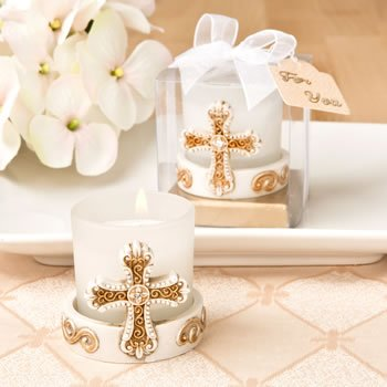 Vintage Cross Themed Candle Votive Favor image
