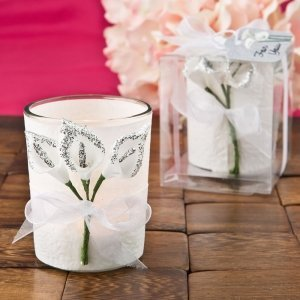 Silver Calla Lily Design Votive Candle Holder Favors image