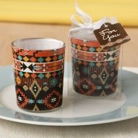 Aztec Design Glass Votive Candle Holder Favors