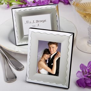 Two Tone Scalloped Wedding Favor Picture Frames image