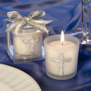 Silver Cross First Communion Candle Favors image