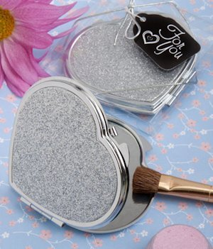 Shimmering Silver Heart Shaped Favor Compact Mirrors image