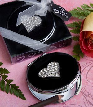 Sparkling Heart Compact Mirrors Favors image