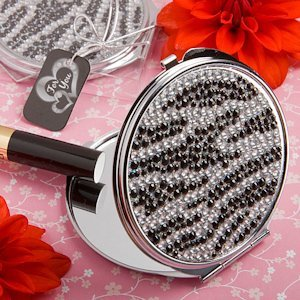 Black and White Zebra Bling Compact Mirror Favors image