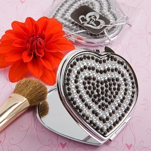 Black and White Bling Heart Compact Mirrors image