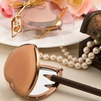 Bronze Metallic Heart Compact Mirror Favors