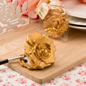 Ornate Matte Gold Rose Design Compact Mirror Favor image