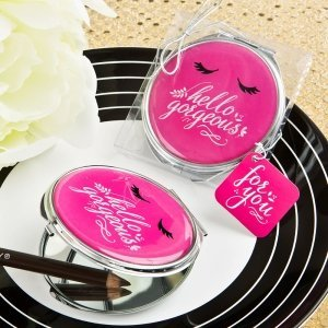 Hello Gorgeous Silver Metal Compact Mirror In Hot Pink image