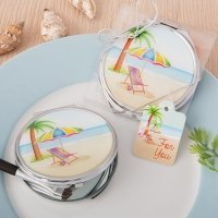 Beach Design Silver Metal Compact Mirror Favor