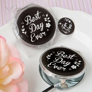 Best Day Ever Silver Metal Compact Mirror Favor image