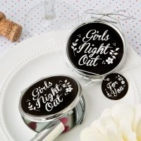 Girls Night Out Silver Metal Compact Mirror Favor
