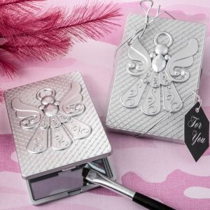 Angel Themed Silver Compact Mirror Favors image