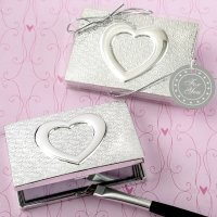 Heart Themed Shiny Silver Compact Mirror Favors