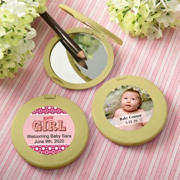 Personalized Expressions Collection Gold  Compact Mirror - B image