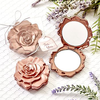 Dusty Rose realistic rose design mirror compacts image
