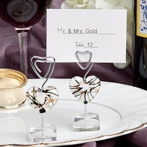 Murano Glass Inspired White Heart Place Card Holder image