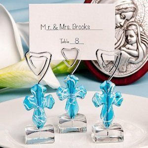 Murano Glass Collection Blue Cross Place Card Holders image