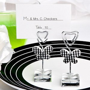 White and Black Butterfly Place Card/Photo Holders image