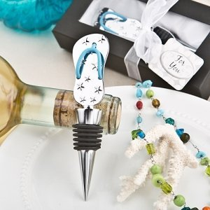 Flip Flop Chrome Metal Bottle Stopper Favors image