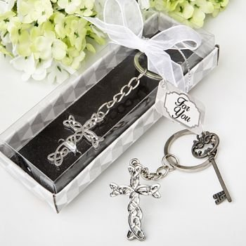 Delicate Intertwined Metal Cross Key Chain Favor image