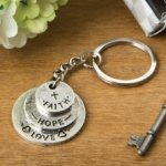 Love Hope and Faith Stacked Disc Key Chain Favors